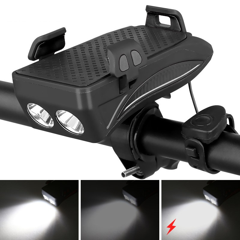 4 в 1 велосипедный фонарь передний велосипедный светодиодный фонарь телефон GPS Навигация держатель телефона на руль с функцией велосипедног...