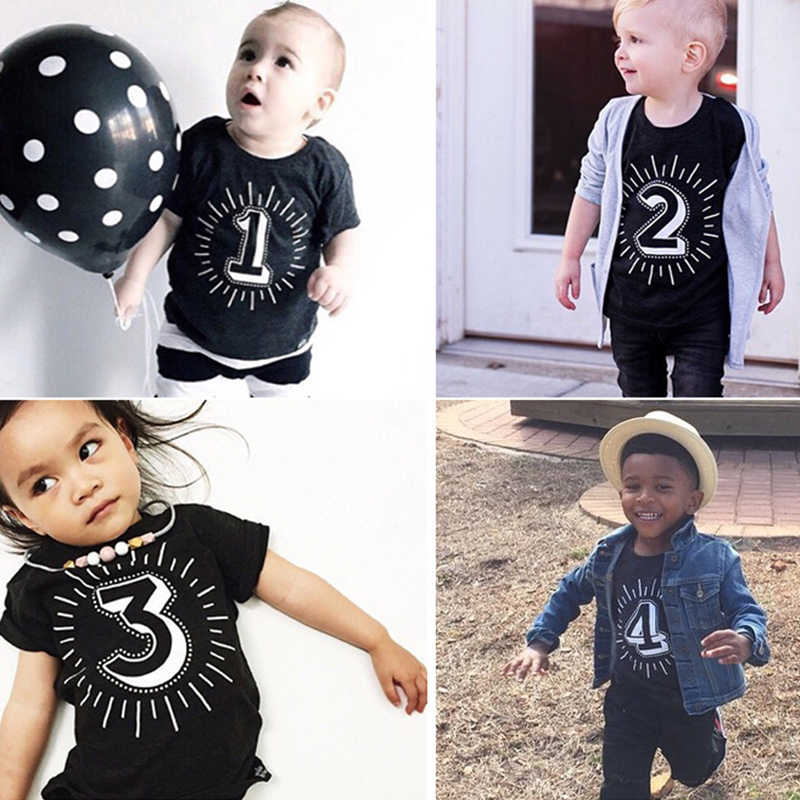 Black Tshirt Kids Number 1 2 3 4 Print Boys Short Sleeve Birthday Party T-shirts Children Baby Girl Summer Tops Unisex Tee Tops