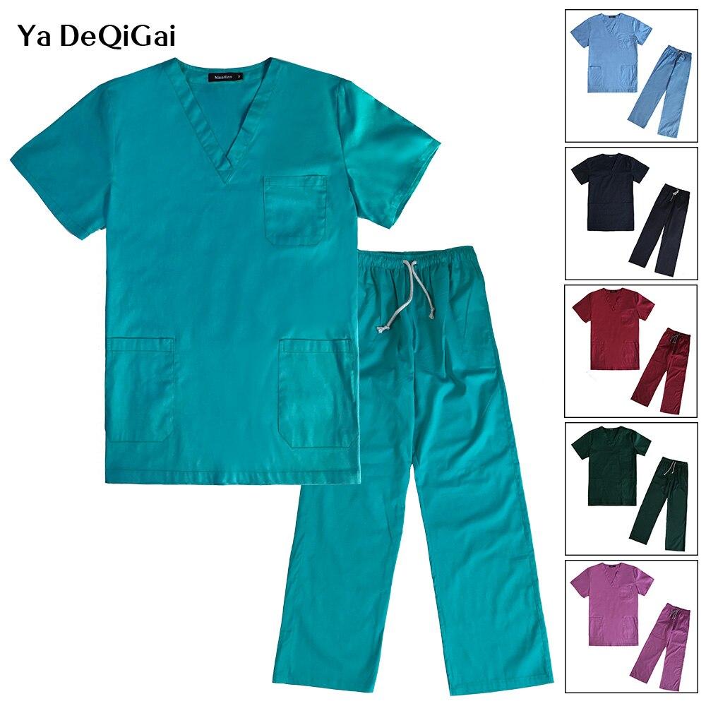 Hospital Operating Room Uniforms Medical Clothing Sets Nursing Solid Color Women Uniforms Cotton Nurse Shirt+pant Pharmacist Set