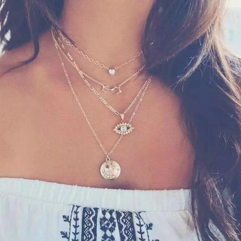 17KM богемное золотое ожерелье s для женщин монета Сердце цветок звезды колье кулон ожерелье этнический многослойный женский ювелирный подарок - Окраска металла: CS5443