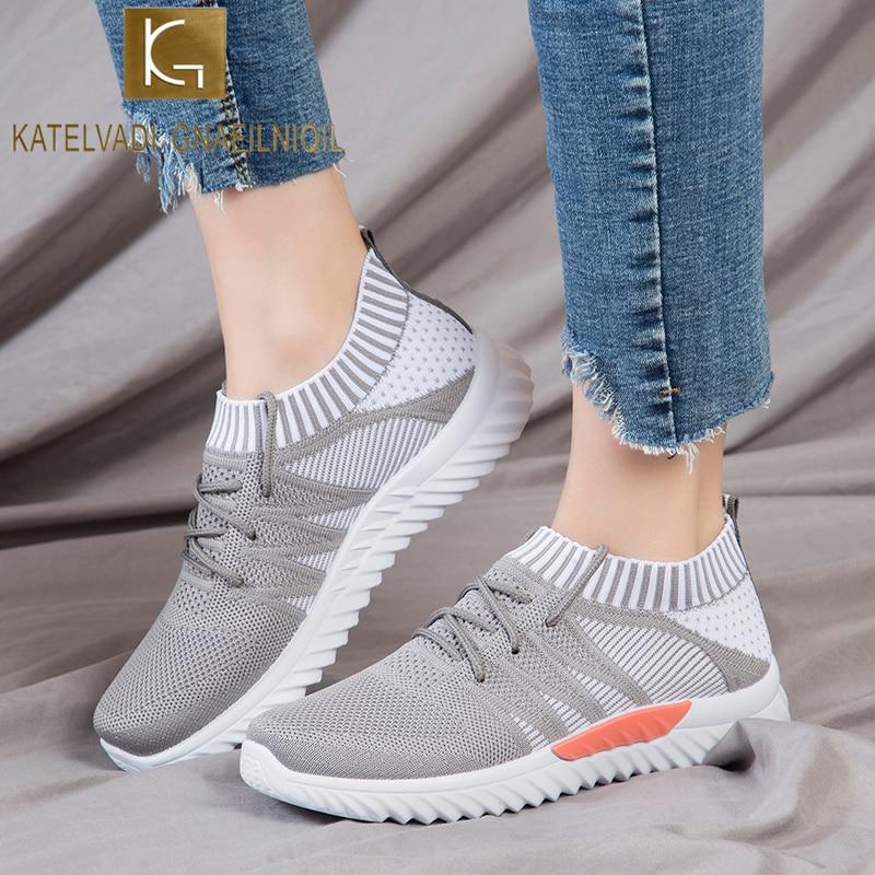 KATELVADI Mesh Sneakers Women Vulcanized Shoes Lace-Up Flat Fashion Knitting Spring Autumn Shoes For Women CB005