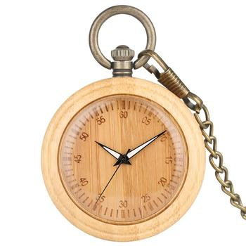 цена на Bamboo Pocket Watch Necklace Unique Arabic Numerals Dial Retro Bronze Rough Chain Pendant Watches for Female taschenuhr