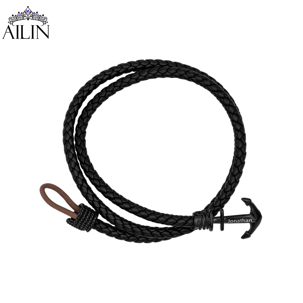 AILIN Dropshipping Customized Men's Anchor Leather Wristband Bangles With Multilayer Wristlet Lace-up Father's Day Gift For Dad