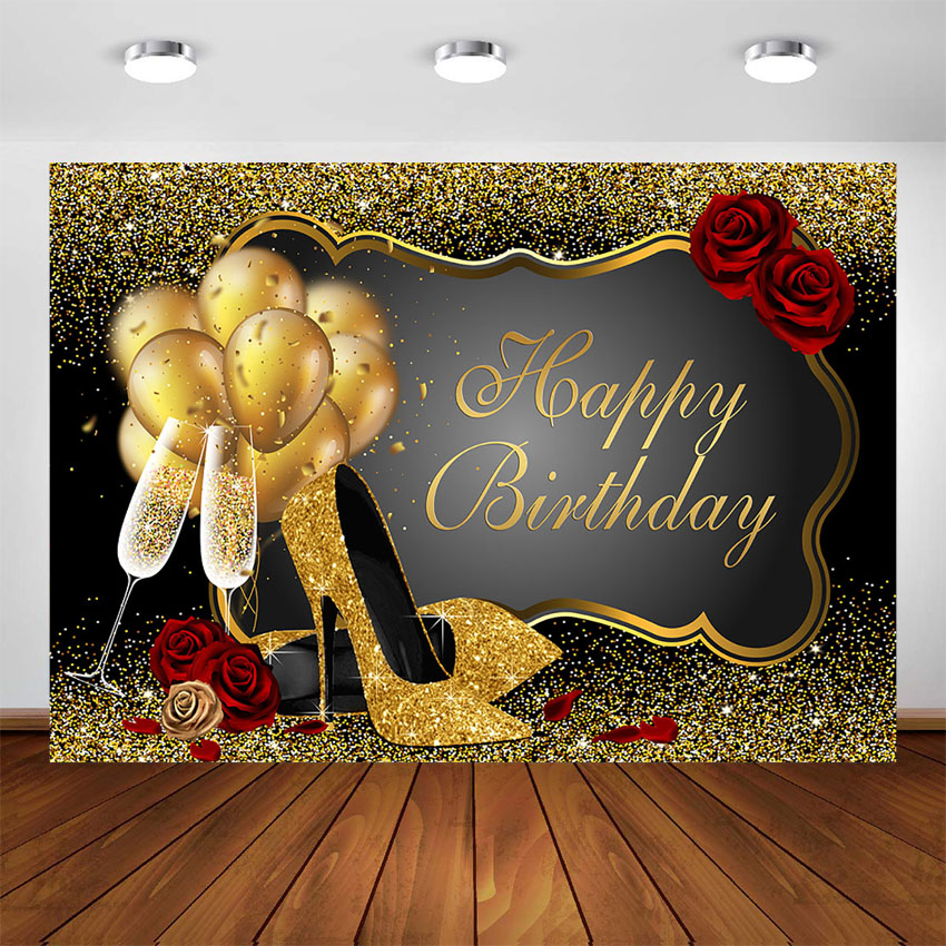 Happy Birthday Party Backdrop Golden Dots Balloons Rose Black and Gold Decorations Women Adults Birthday Photo Booth Background