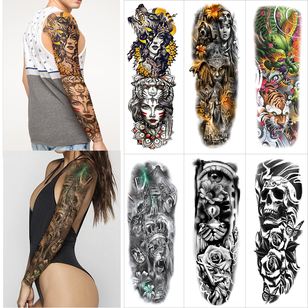Arm Full Tattoo Large Stickers Flash Tattoos Sleeve Temporary Fake Tattoo Sticker Flower Dragon Tiger Rabbit Skull Thigh  Tattoo