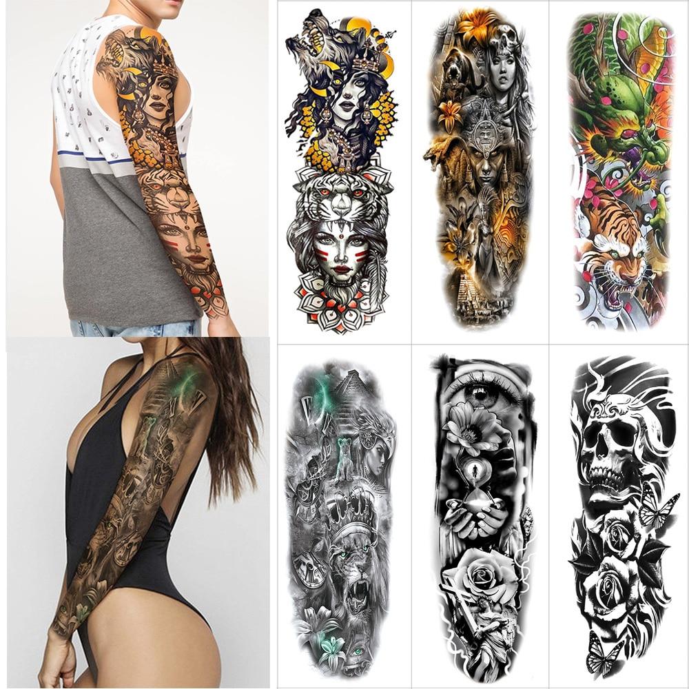 Arm Full Tattoo Large Stickers Flash Tattoos Sleeve Temporary Fake Tattoo Sticker Flower Dragon Tiger Rabbit Skull Thigh  Tattoo