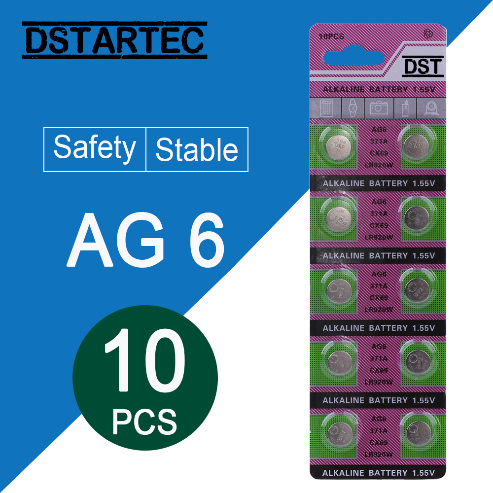 10pcs 30mAh 1.55V AG6 371 SR920SW LR920 SR927 171 370 L921 LR69 SR920 Button Batteries For Watch Toys Remote Cell Coin Battery