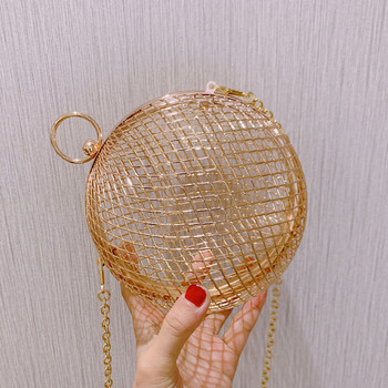 summer Fashion design personality hollow metal cages party clutch evening bag shoulder bag ladies handbag messenger bags purse