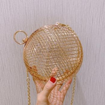 summer Fashion design personality hollow metal cages party clutch evening bag shoulder bag ladies handbag messenger bags purse