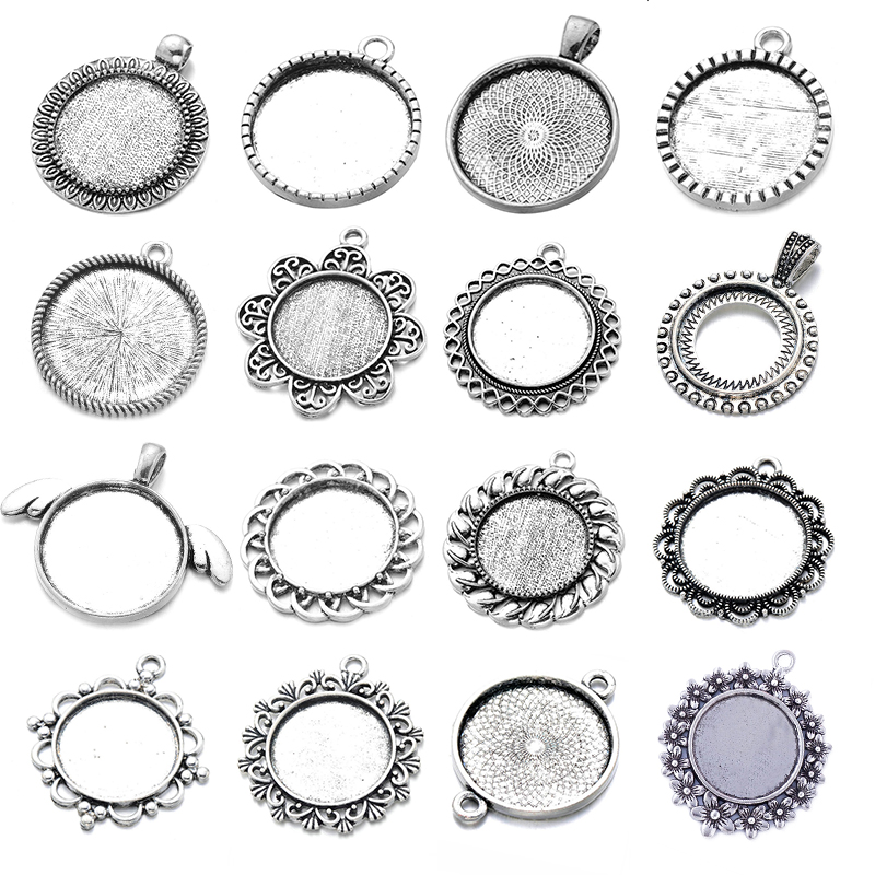 10pcs/lot 25mm Various Styles Cabochon Pendant Blank Bezel Setting For Pendant Necklace DIY Jewelry Making Accessories Findings