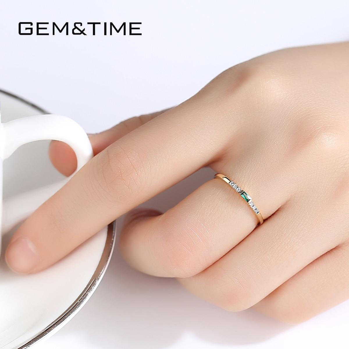 Gem & Time luxe réel 14k or anneaux émeraude pierres précieuses anneaux pour femmes fiançailles alliance or jaune 585 Fine bijoux R14140 - 5