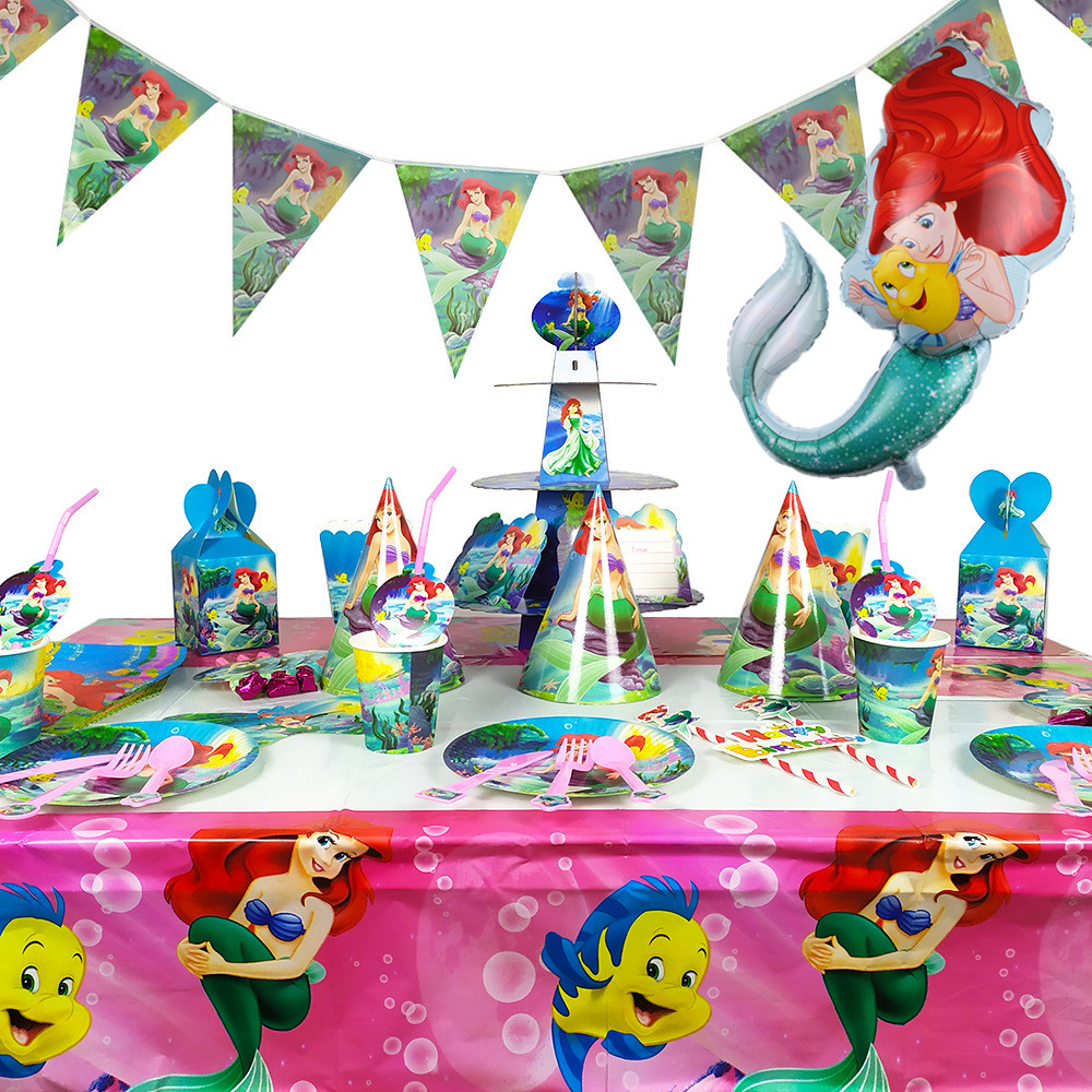 Little Mermaid Birthday Party Supplies Girls Favorite Party Decoration Ariel Princess Tablecloth Banner Balloon Cake Stand
