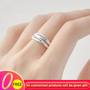 Custom Skinny Stacking Name Rings For Women Girls Anillos Mujer Personalized Engraved Ring BFF Stainless Steel Jewelry