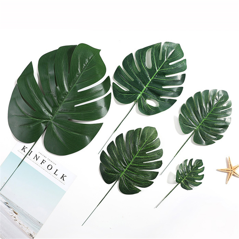 Cheap Plastic Flowers Artificial Fake Monstera Palm Leaves Green Plants Wedding DIY Decoration Arrangement Plant Leaf 4 Size