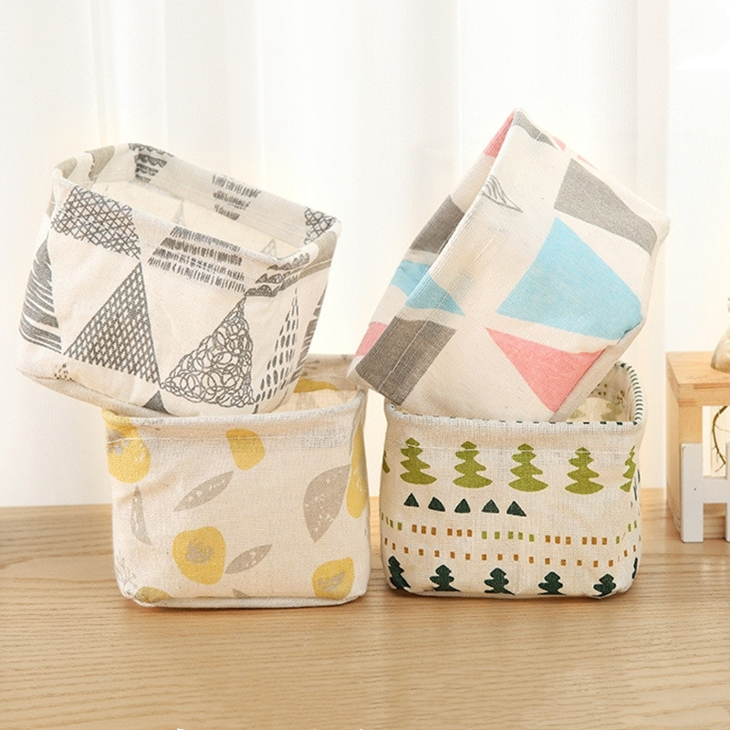 1PC Simple Cute Cactus Fabric Desktop Storage Stationery Holder Box Office Supplies