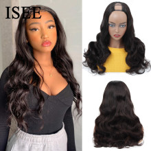 Body Wave U Part Wigs For Women Peruvian Body Wave Human Hair Wigs 150% Density ISEE HAIR Middle U Shape Wigs Glueless Wigs(China)