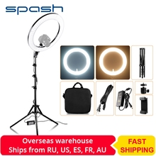 spash RL-18A LED Ring Light 18 inch Ring Lamp for Makeup Video Youtube Photography Lighting with Tripod Bi-color 3200K-5500K 55W spash tl 240s led video light 2 in 1 kit photography lighting led panel lamp camera light with tripod for youtube photo studio