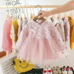 Primavera outono meninas vestido de bebê estilo chinês cheongsam floral malha princesa rosa flor amarela bonito doce manga longa tutu vestido