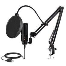 Microfone usb para computador condensador microfone professional gaming microfono tripé para youtube streaming gravação popcast