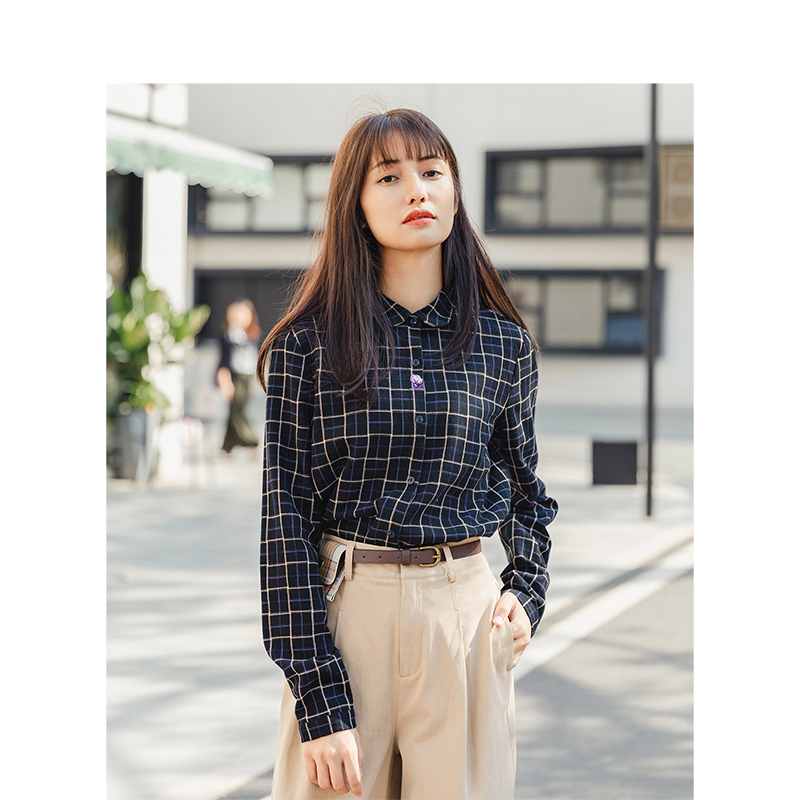 INMAN Spring Autumn 100%Cotton Retro Plaid Turn Down Collar Slim Literary Elegant All Matched Women Blouse
