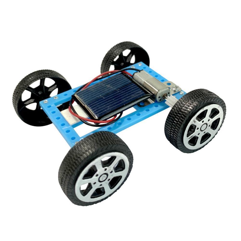 1 Uds de plástico Mini coche Solar tecnología para manualidades de producción pequeña invención de juguete materiales Color al azar de la tecnología de la ciencia cerebro juguete