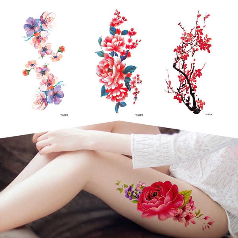 แฟชั่นสีสันดอกไม้แขนไหล่Tattooสติกเกอร์แฟลชHenna Tattooปลอมกันน้ำชั่วคราวสติกเกอร์รอยสักBody Art
