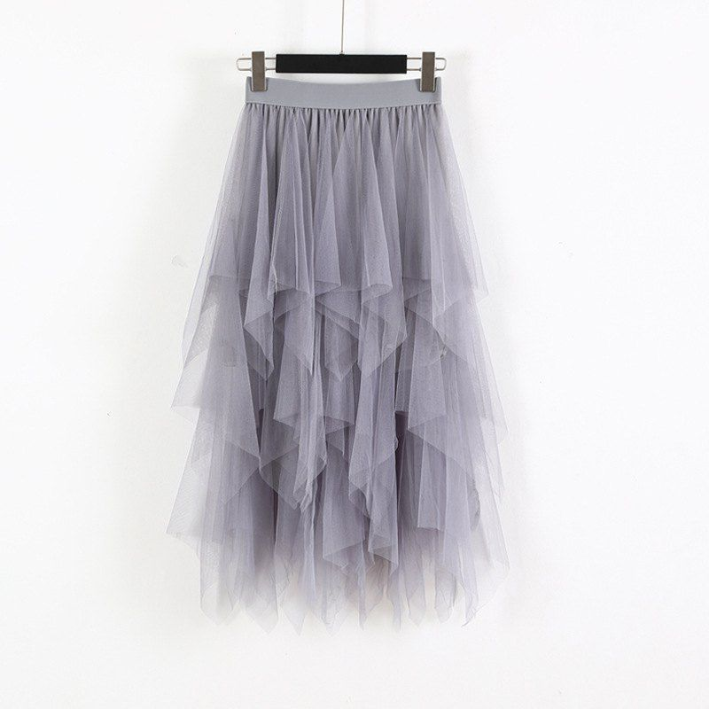 Women Irregular Hem Mesh Tutu Skirt Fashion Elastic High Waist Long Tulle Skirt   Fashion Spring Party Skirt For Ladies