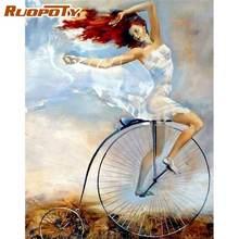 Ruopoty велосипед девушка фигура Масло Набор для рисования по