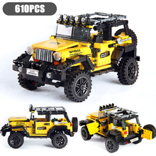 610PCS Creator Series Mechanical Shock Absorber Jeeped Off-road Car Model Building Blocks City Technic Car Brick Toys For Kids 960pcs building blocks compatible for lepining 10271 fiated 500 city technic car creator series model children kids gift toys