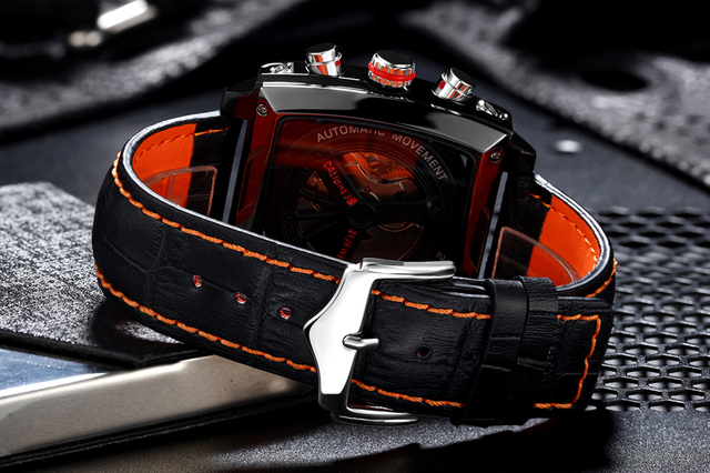 Automatic Self Wind Mechanical Genuine Leather Stainless Steel Black Orange Blue Casual Perspective See Through Men Watch 5
