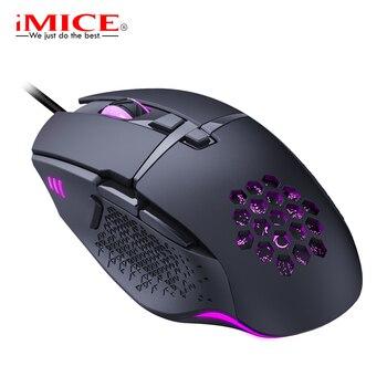 Ratón LED con Cable para videojuegos 7200 DPI, ergonómico, USB, con Cable para PC, portátil, óptico RGB con retroiluminación