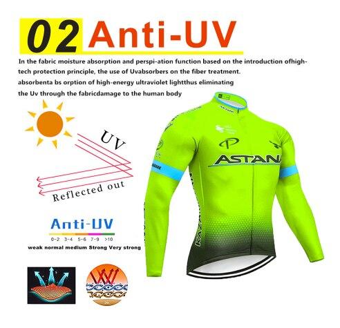 2020 ciclismo jerseys fluorescente verde astana roupas de inverno polar ciclismo uniforme quente de manga comprida bicicleta roupas biclet 4