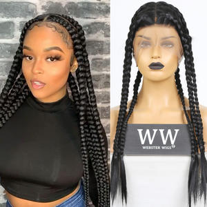 FANXITON Wig Cornrow Hand-Tied Heat-Resistant-Fiber Synthetic Full-Lace Hair-Box Women