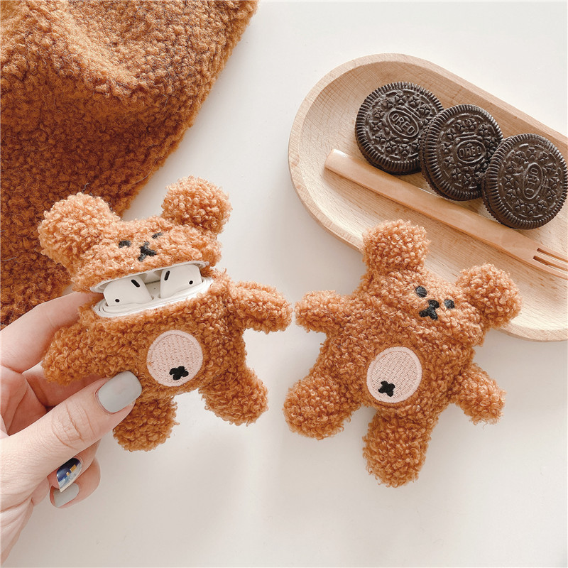 2020 New Cartoon Cute Little Bear Plush Bluetooth Headset Protection Box, Suitable For The Charging Box With Airpods1 2 3