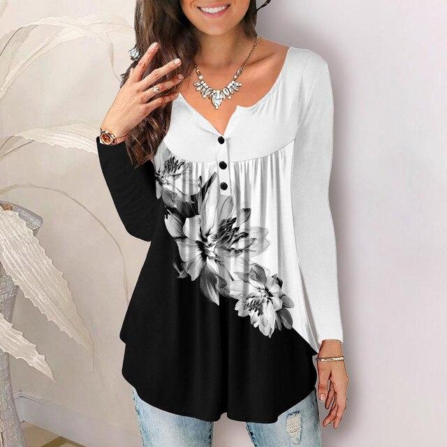 Vintage Pleated Blouse Shirt Loose Flower Print Blouse Tops Round Neck Long-sleeve Top Cotton Shirt Autumn Streetwear Рубашка C8 1