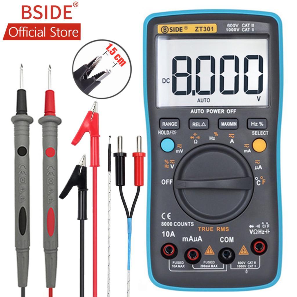 BSIDE ZT302 Digital Multimeter 8000 9999 Counts True RMS Multifunction AC/DC Voltage Temperature Capacitance Tester DMM
