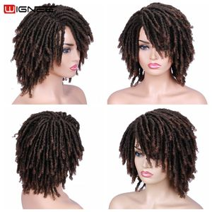 Image 4 - Wignee Short Soft Brown Dreadlocks Synthetic Wigs For Women Faux locs Afro Kinky Curly Hair With Bangs Crochet Twist Hair Wigs