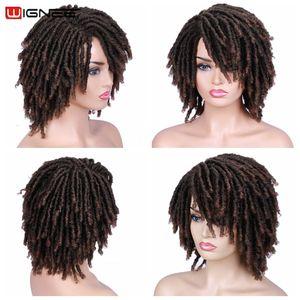 Image 4 - Wignee court doux brun dreadlock perruques synthétiques pour les femmes Faux locs Afro crépus bouclés cheveux avec frange Crochet torsion cheveux perruques
