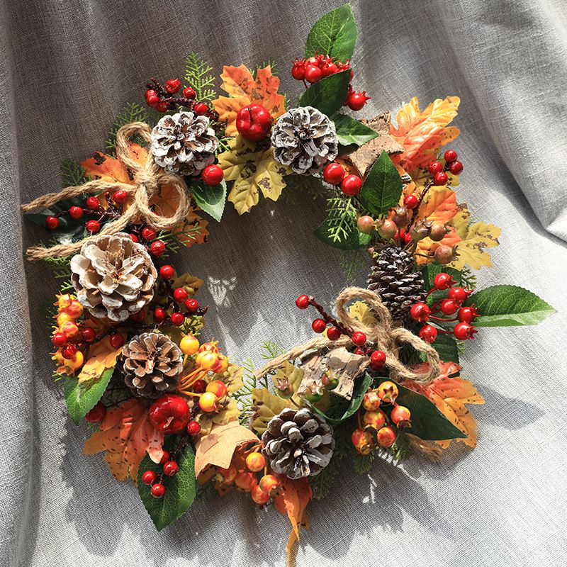 30cm Christmas Wreath With Artificial Pine Cones Berries And Maple Leaves Holiday Front Door Hanging Decoration Farmhouse Decor image