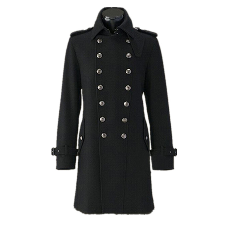 WWII German Army Overcoat General Coat Winter Wool Coats Double-breasted Men Winter Woolen Solid Color