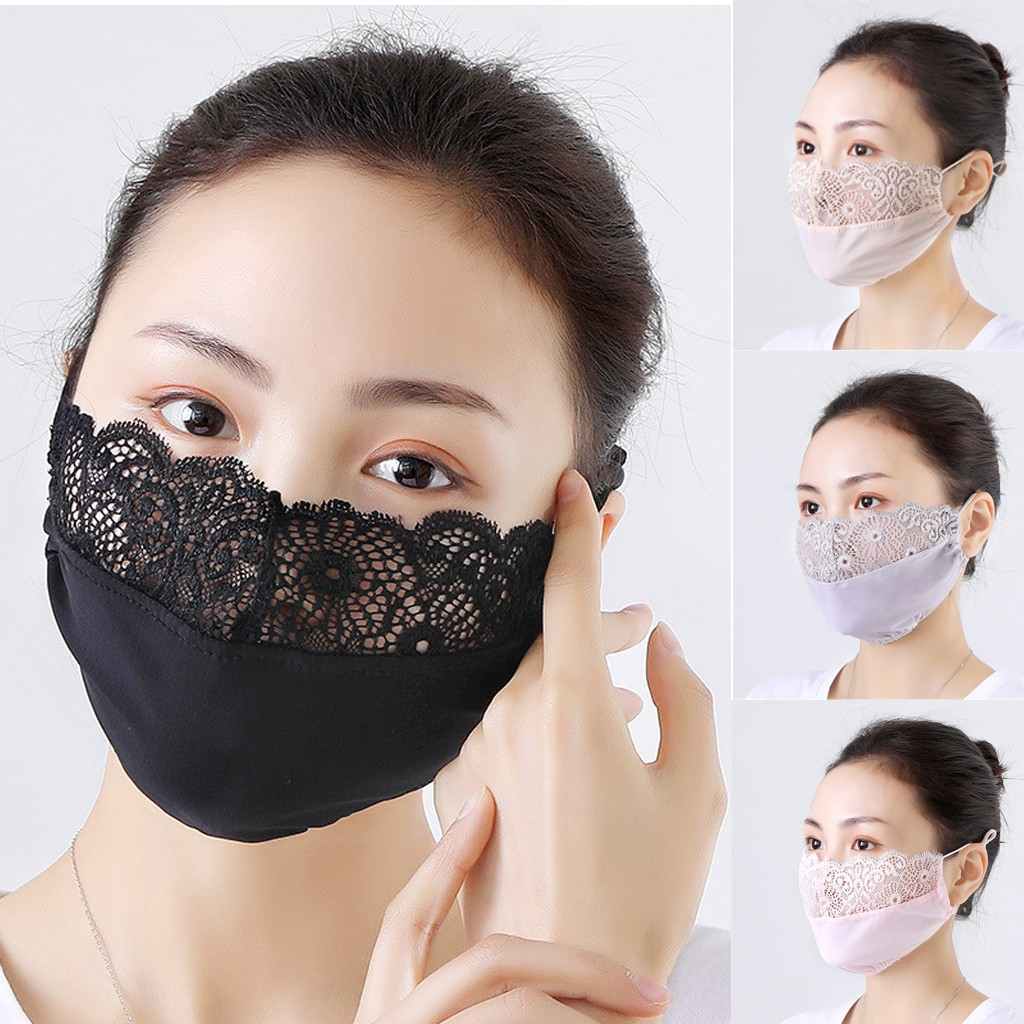 Fashion Womens Lace Mouth Reuse Masks Cute Anti Dust Kawaii Muffle Face Mask Full Protection Bacteria Proof Anti Dust Face Mask