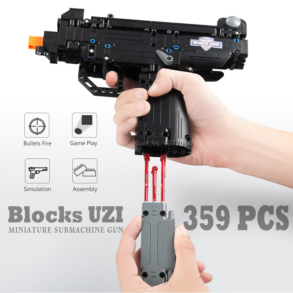Toy Gun Building Blocks UZI Submachine Gun Model  Military Bricks Weapon Set Kids Outdoor Toy For Children Boys