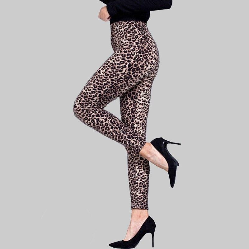 Women Fashion Sexy Slim Leopard Print Leggings High Waist Stretch Pants Ladies Casual Tight Trousers