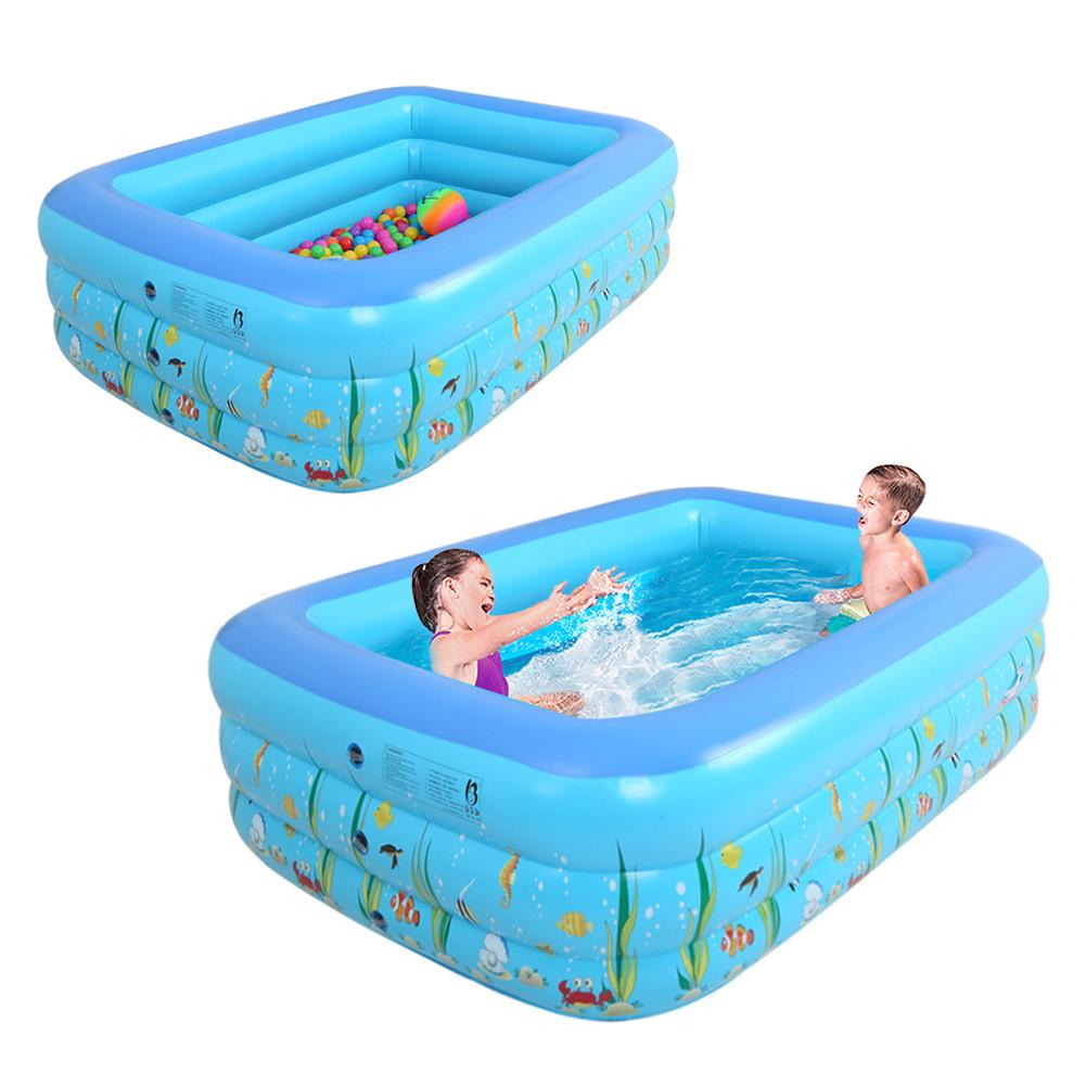 1.3M Three-ring Baby Inflatable Printing Swimming Pool PVC Playing Bathing Pool For Family Children Summer Outdoor In Stock