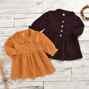 0-4 t primavera vestido da menina do bebê boutique manga longa algodão plissado sólido vestido de bebê casual roupas da menina do bebê infantil crianças outfit