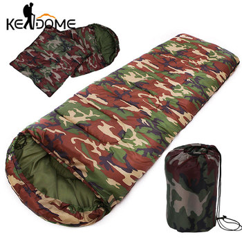 High Quality Cotton Camping Sleeping Bag 15~5degree Envelope Style Army Military Camouflage Sleeping Bags Outdoor Sports XA278D