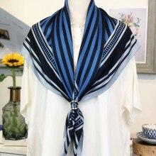 Высокое качество Роскошный модный бренд бандана женские шелковые шарфы шали 90*90 см Полосатый бросился женские шелковые шарфы шарф квадратн...