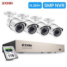 ZOSI 8CH H.265 NVR 5MP IP red POE Video 4 Uds 1080p IR al aire libre Sistema de cámaras de seguridad CCTV casa kit de videovigilancia
