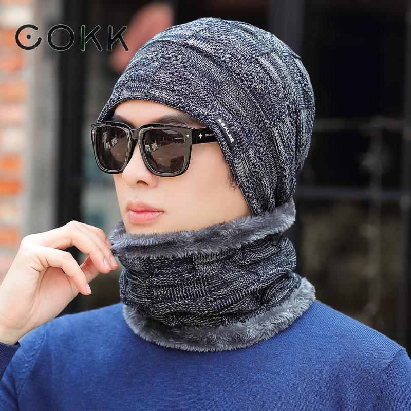 COKK Knitted Hat With Scarf Ear Protector Cold Proof Men Winter Cap Velvet Thickening Set Motorcycle Windproof Hat Scarf Man New