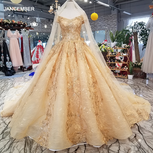 Image 1 - LS21447 golden sexy off shoulder wedding gown 2018 with long veil v neck lace up champagne bridal wedding dress free shipping
